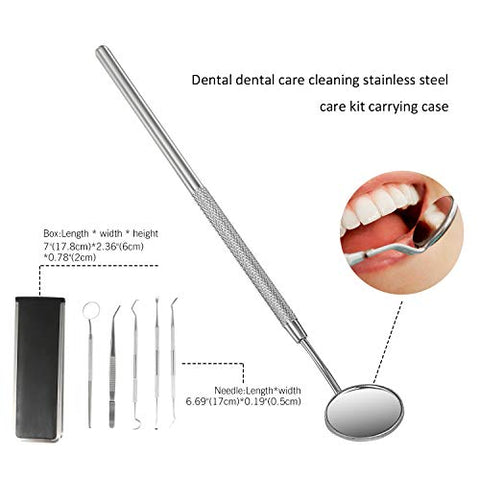JewelryWe Dental Care Set Stainless Steel Dental Scaler, Mouth Mirror, Tarter Scraper, Tooth Pick, Tweezers, Dental Pick Oral Care Kit for Personal Pet Oral Care