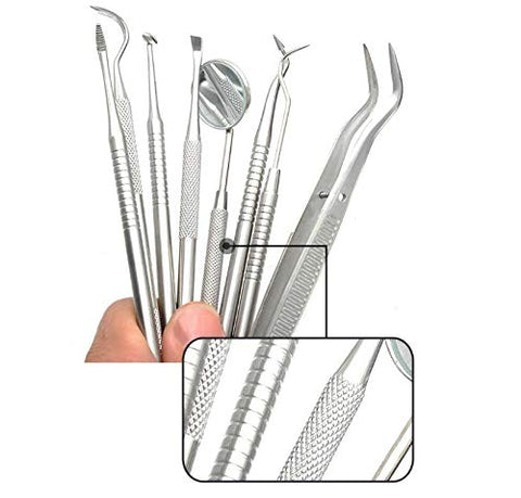RedSuns 8pcs Dental Tools Professional Teeth Cleaning Tools Stainless Steel Tartar Remover Oral Hygiene Care Scraper Tools Set for Adults Kids Family Dogs with Leather Case