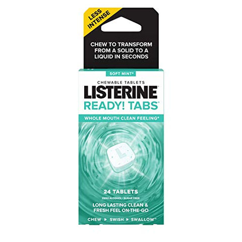 Listerine Ready! tabs chewable tablets with soft mint flavor, 24 Count