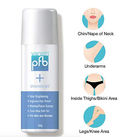 PFB Chromabright Razor Bump Stopper Skin Care Treatment, Dark Spot Remover Roll On Formula, Treats Ingrown Hairs and Razor Burns - 93g