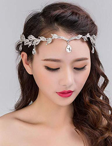 Chargances Rhinestone Leaf Wedding Gold Crown Headband for Brides Crystal Pendent Tiara Headband for Wedding Prom Birthday Party Bohemia Hair Jewelry for Women and Girls
