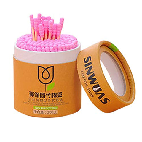 fine_fine 200pcs Cotton Swabs, Round Tip with Wooden Handle Cleaning Swabs Cotton Buds for Ear Cleaning, Makeup Cleaning, Injury Cleaning (Pink)
