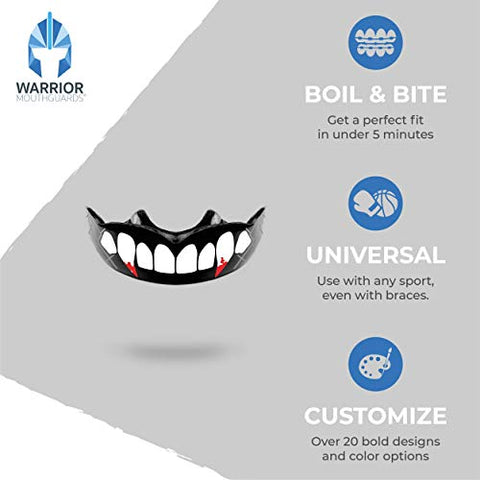 Warrior Mouthguards - Vampire Fang Moldable Mouth Guard with Case for Youth and Adults (Caged Bloody Vampire Fang, Youth)