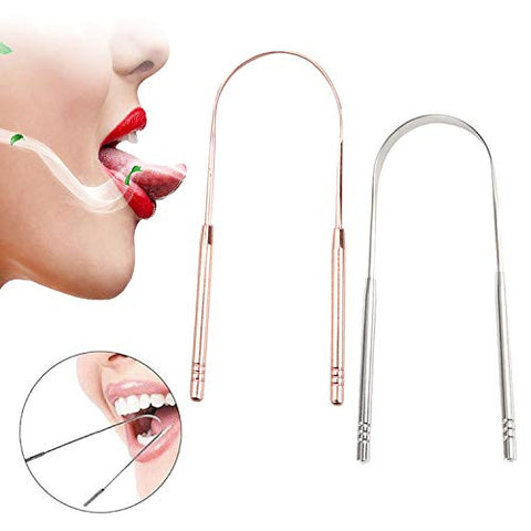 Stainless Steel Tongue Scraper Cleaner Fresh Toothbrush Dental Oral Breath Tongue Hygiene Cleaning Coated Care Tool,Rose Gold
