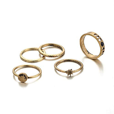 BERYUAN 5Pcs Vintage Gold Star Knuckle Ring Set Gift For Her Purple GEM Stone ring for Women and Girls teens (4)