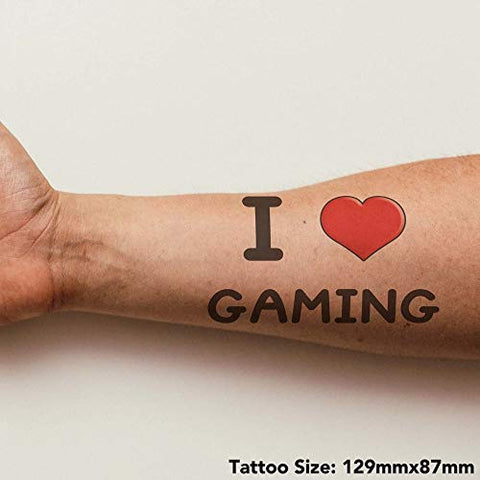 Azeeda Large 'I Love Gaming' Temporary Tattoo (TO00000654)