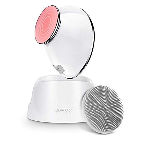 AEVO Facial Cleansing Brush, 6X Deeper Cleanse 2 in 1 Heated Massager & Sonic Vibrations [Detachable Silicone Head for Exfoliation] [Rechargeable] [5 Modes] [for Women/Men], White