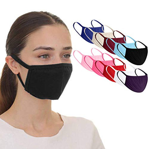 Sagton 10 Pack Reusable_Face_Masks for Outdoor/Working,Washable Breathable Lightweight Comfortable Face Bandanas with Elastic Ear Loop for Man and Woman