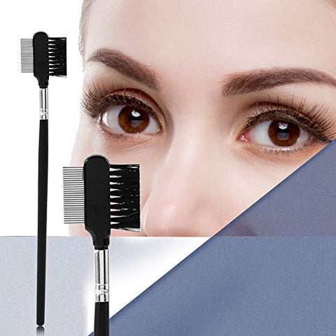 Eyelash Eyebrow Brush Comb, Metal Teeth Eyelash Comb Handle Reusable Double Head Extension Steel Makeup Cosmetic Brush Makeup Tool