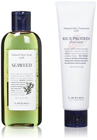 [Classic set] Rubell (LebeL) Natural Hair Soap with SW (Seaweed 240ml) & Natural hair treatment with RP (rice protein 140g)