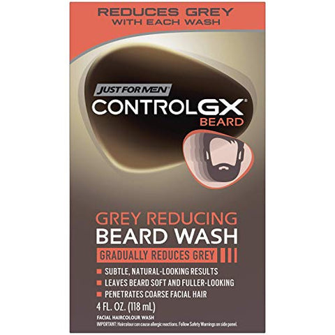 Just For Men Control Gx Grey Reducing Beard Wash, Gradually Colors Mustache And Beard, 4 Fl Oz