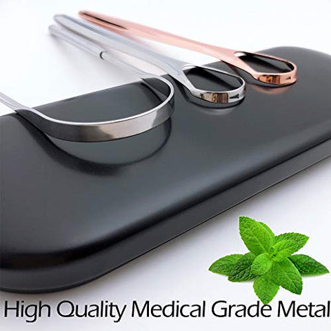 Tongue Scraper, Tongue Cleaner, Tounge Scraper Cleaner,Tongue scrapers for adults with Carrying case, Fresh Breath Tongue Scrapers Medical Grade Metal (3 pack)