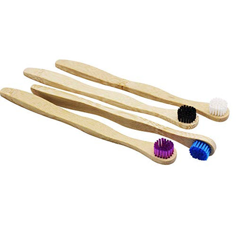 Tongue Cleaner Bamboo Tongue Scraper Colorful Tongue Brush Pack Of 4