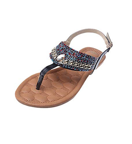Aurorax 2020 New Womens Rhinestone Embellished Slid Casual Sandal Outdoor Fashion Comfortable Wedge Shoes (Black, US:7.5)