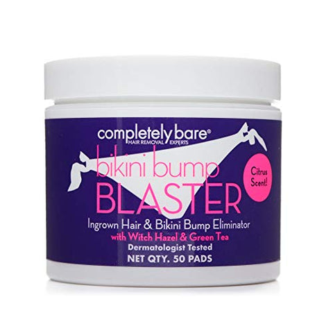 Completely Bare Bikini Bump Blaster Pads- All Natural Antioxidants, Witch Hazel & Green Tea, Prevents Ingrown Hairs and Bumps, Gentle Exfoliating Treatment Wipes, Cruelty-Free Vegan Formula, 50ct