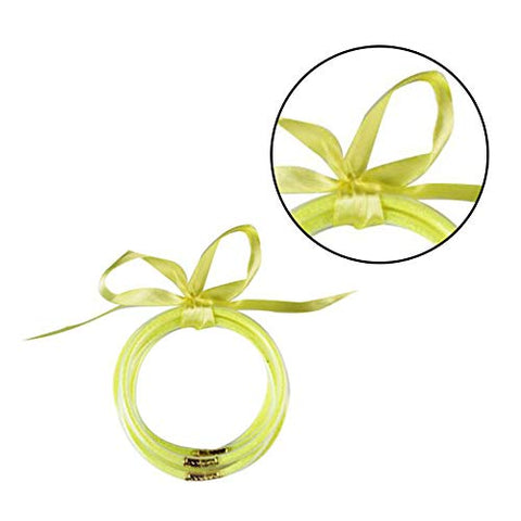 Loriver 5X All Weather Glitter Silicone Bowknot Bangles Bracelets Jewelry for Kids (Green)
