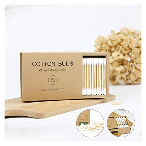 LLZJ 200pcs Double Head Cotton Swab Bamboo Cotton Swab Wood Sticks Disposable Buds Cotton for Beauty Makeup Nose Ears Cleaning (Color : 200pcs)