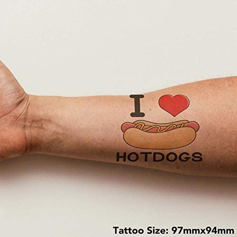 Azeeda Large 'I Love Hotdogs' Temporary Tattoo (TO00000895)