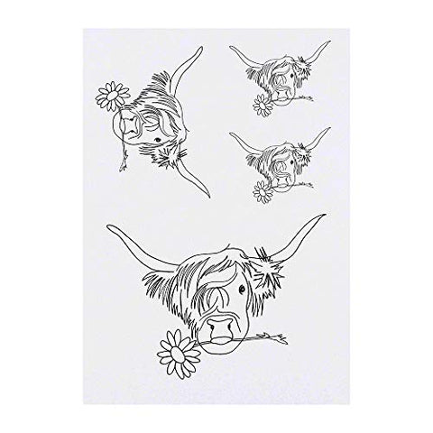 Azeeda 4 x 'Highland Cow with Flower' Temporary Tattoos (TO00006925)