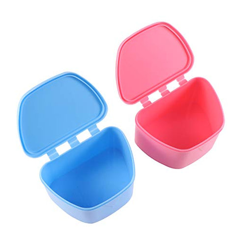 HEALLILY Portable Denture Case Lid Dentures Storage Box Orthodontic Dental Retainer Box 2pcs (Blue and Rosy)
