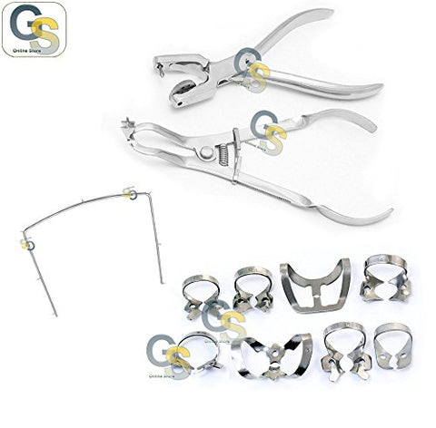 G.S RUBBER DAM CLAMPS AINSWORTH PUNCH HOLE PLIERS IVORY LIGHT FRAMES RESTORATIVE LAB