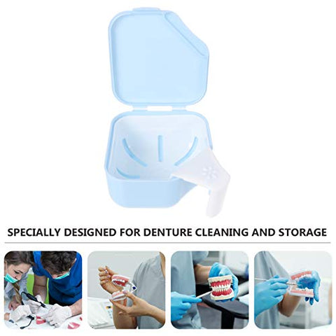 ARTIBETTER Denture Retainer Case Double Layer Denture False Teeth Carrier Box Mouth Guard Night Gum Cleaning Cup Container for Women Men