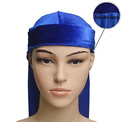 High Premium Silky Soft Velvet Durag for 360, 540 and 720 Waves Biker Extra Long Straps Du-RAG Royal Blue