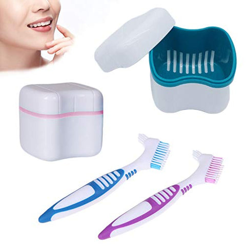 4Pcs Denture Case, Denture Brush Retainer Case Brush Holder Denture Cleaner with Funnel, Denture Cup Retainer Cleaner Case with Denture Toothbrush ( Light Blue,Pink )