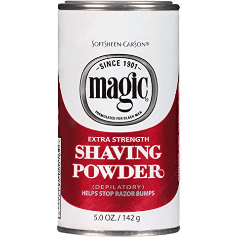 Razorless Shaving for Men by SoftSheen-Carson Magic Extra Strength Shaving Powder, For Coarse Textured Beards, Formulated for Black Men, Depilatory, Helps Stop Razor Bumps, Since 1901, 5 oz