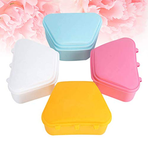 Healifty Denture Case Denture Bath Box Denture Storage Container for Travel and Home 4pcs(assorted color)