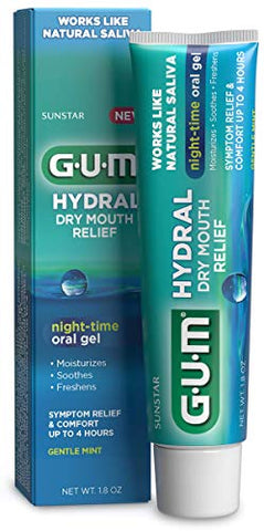 GUM - 1806R Hydral Oral Gel, Alcohol-Free Gentle Mint Gel for Night-time Dry Mouth Relief, 1.8 oz