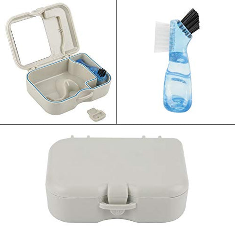 Fafeicy 1pc Denture Storage Box, Case With Mirror and Clean Brush Dental Appliance