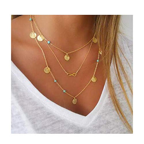 Chargances Bohemia Women Gold Necklace with Disc Number Eight Pendant Delicate Long Choker Necklace for Prom Dating Festival Mother Day Necklace Chain Jewelry for Women and Girls