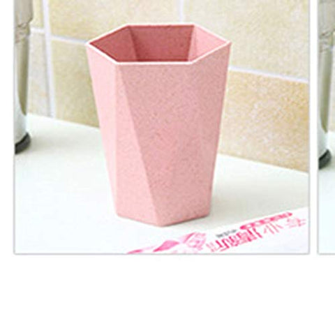 Dong hao Healthy Wheat Straw Biodegradable Toothbrush Cup? Portable Travel Mouthwash Cup (Color : Pink)