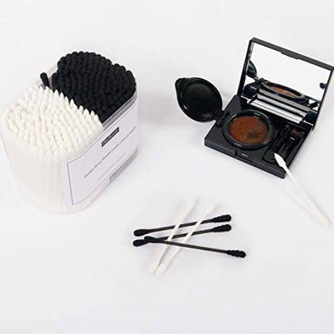 Cotton Swabs, 300Pcs Cotton Buds Double Head 100% Cotton White and Black Natural Paper Sticks Multipurpose Makeup & Cleaning Sterile Sticks