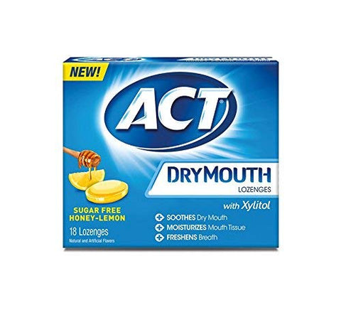 ACT Dry Mouth Honey Lemon Lozenges, 18 Lozenges Each (12)