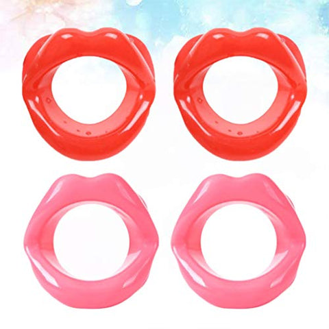 Healifty Face Slim Exerciser Face Slimmer Anti-wrinkle Anti-aging Silicone Mouth Muscle Trainer Lips Massage Tightener 4pcs