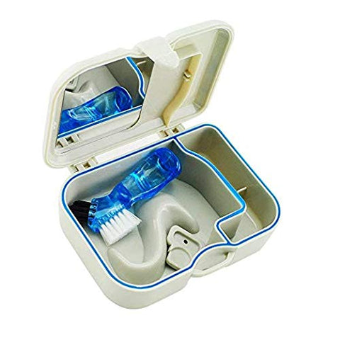 Denture Case with Mirror & Clean Brush, Handy False Teeth Storage & Bath Box, Easy to Open, Store and Retrieve