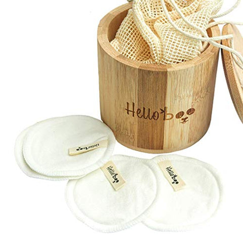 Bamboo Makeup Remover Pads | Pack of 16 Pads with a Cotton Bag and Bamboo Jar | Soft Gentle Eco-Friendly and Reusable |  | Nursing Pads | Portable and Handy | For All Skin Types and Machine Washable