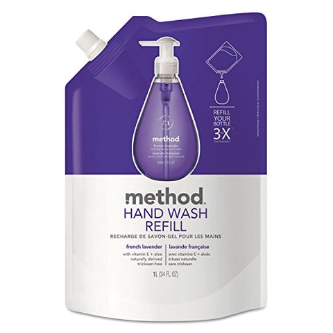 Method 00654 Gel Hand Wash Refill, French Lavender, 34 Oz Pouch