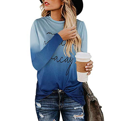 KASAAS Womens Tops, Vintage Leopard Camouflage O-Neck Long Sleeve Casual Baggy Tucked Pullover Sweatshirts Shirts(XL,Blue)