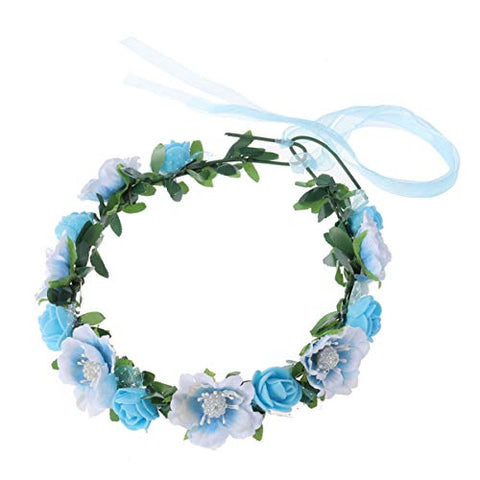 Minkissy Bridal Hair Wreath Women Girls Flower Headband Green Leaf Flower Crown for Wedding Festivals (Sky-blue)