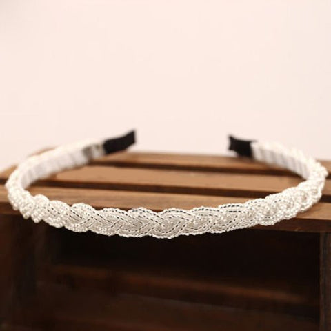 Women's Fashion Rhinestone Bead Crystal Headband Hair Band (White)