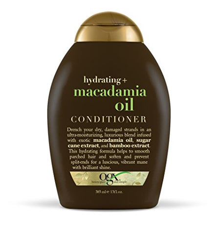 OGX Conditioner Hydrating Macadamia Oil (1) 13 Ounce Bottle Hydrating and Nourishing Conditioner with Macadamia, Paraben Free Sustainable Ingredients; Awaken Your Senses