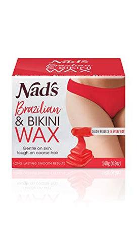 Nad's Brazilan & Bikini Wax Kit - Wax Hair Removal For Women - Body Wax Specifically For Coarse Hair - At Home Waxing Kit With Hard Wax + Calming Oil Wipes + Wooden Spatula