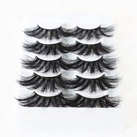 Newcally 25MM Faux Mink Lashes Fake Eyelashes Dramatic Messy Long Fluffy False Eye Lashes 5 Pairs Pack