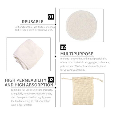 FRCOLOR 5pcs Reusable Makeup Remover Pads Washable Facial Cleansing Pad with Spa Facial Headband for Women Girls (2pcs Pads, 1pc Headband, 1pc Bag, 1pc Case, Beige)