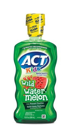 ACT Kids Anti-Cavity Wild Watermelon Fluoride Mouthwash (Pack of 4)