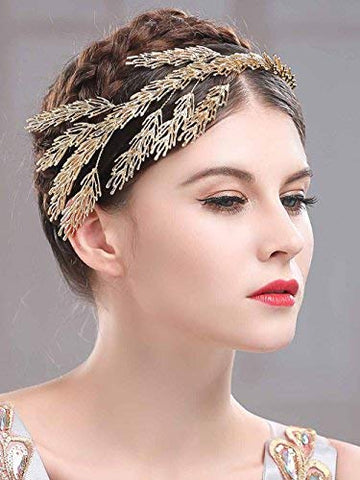 Aukmla Golden Bridal Headpiece Gold Wedding Crown Bridal Head Piece Gold Branch Headdress Golden Woodland Headband Bridal Hair Accessories for Women and Girls