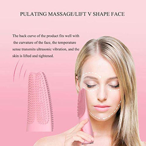 Facial Cleaning Brush Silicone Rechargeable, Cleansing Brush Waterproof Sonic Facial Massage Brush Facial Exfoliation